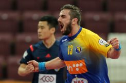 Bosnia and Herzegovina's Kosta Savic (R) celebrates a goal during the 24th Men's Handball World Championships preliminary round Group B match Bosnia-Herzegovina vs Iran at the Lusail Sports Arena in Doha on January 16, 2015. AFP PHOTO / AL-WATAN DOHA / KARIM JAAFAR == QATAR OUT == (Photo credit should read KARIM JAAFAR/AFP/Getty Images)